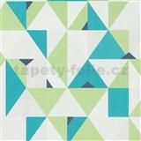 Vliesové tapety na stenu IMPOL Novara 3 geometrický vzor zeleno-tyrkysový