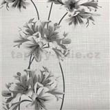 Vliesové tapety na stenu Novara 3 kvety sivé so striebornými stonkami