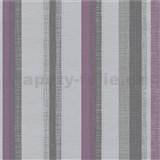 Vliesové tapety na stenu Novara 3 pruhy fialové, sivé a  strieborné