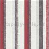 Vliesové tapety na stenu Novara 3 pruhy červené, čierné a  strieborné