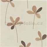 Vliesové tapety na stenu Novara 3 lístky hnedé s medenými stonkami na krémovom podklade