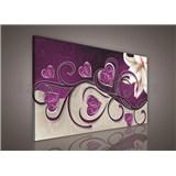 Obraz na stenu srdce fialové s ľaliou 75 x 100 cm
