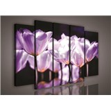 Obraz na plátne fialové kvety 150 x 100 cm