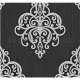 Vliesové tapety na stenu Opal ornament svetle sivý na čiernom podklade