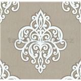 Vliesové tapety na stenu Opal ornament biely na hnedom podklade
