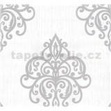 Vliesové tapety na stenu Opal ornament sivý na bielom podklade