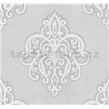 Vliesové tapety na stenu Opal ornament biely na svetlo sivom podklade