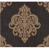 Vliesové tapety na stenu Opal ornament zlato-hnedý na čiernom podklade