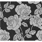 Vliesové tapety na stenu Opal kvety na čiernom podklade s jemným ligotom