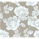 Vliesové tapety na stenu Opal kvety na hnedom podklade s jemným ligotom