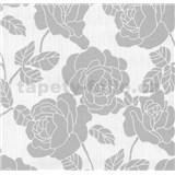 Vliesové tapety na stenu Opal kvety na bielom podklade s jemným ligotom