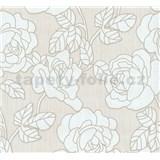Vliesové tapety na stenu Opal kvety na krémovom podklade s jemným ligotom