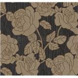 Vliesové tapety na stenu Opal kvety zlato-hnedé na čiernom podklade s jemným ligotom