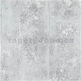 Tapety Origin - betón kovový vzhľad bielo-strieborný