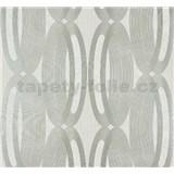 Vliesové tapety na stenu Ornamental Home - elipsy strieborné na krémovom podklade