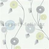 Vliesové tapety na stenu Patchwork - kvety modro-zelené