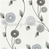Vliesové tapety na stenu Patchwork - kvety hnedo-sivé