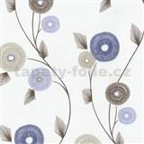 Vliesové tapety na stenu Patchwork - kvety modro-hnedé