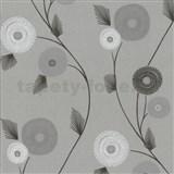 Vliesové tapety na stenu Patchwork - kvety sivo-bielej