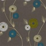 Vliesové tapety na stenu Patchwork - kvety tyrkysovo-biele