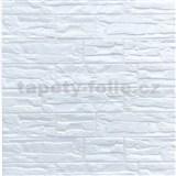 Samolepiace penové 3D panely rozmer 70 x 77 cm, ukladaný kameň krémovo biely
