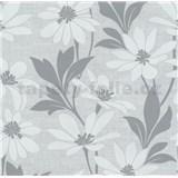 Vliesová tapeta na stenu Polar kvety s listami sivé