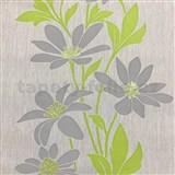 Vliesové tapety na stenu Polar sivé kvety se zelenými lístky a lesklými detaily