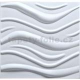 3D panel XPS WAVE biely rozmer 50 x 50 cm (vlnovka velká)