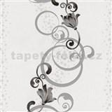 Vliesové tapety na stenu Pure and Easy kvety sivé so strieborným ornamentom