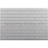 Obkladové 3D PVC panely rozmer 440 x 580 mm malá tehla biela s bielou škárou