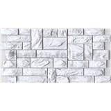 Obkladové 3D PVC panely rozmer 977 x 493 mm, hrúbka 0,4mm, bridlica bielo-sivá