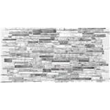 Obkladové 3D PVC panely rozmer 980 x 489 mm, hrúbka 0,4mm, ukládaný kameň sivo-biely