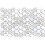 Obkladové 3D PVC panely rozmer 966 x 645 mm, hrúbka 0,6mm, hexagon bielo-sivý