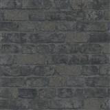 Vliesové tapety na stenu Brique 3D tehly čierne s výraznou plastickou štruktúrou