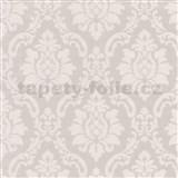 Vinylové tapety na stenu barokový vzor krémový na hnedom podklade
