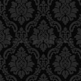Vinylové tapety na stenu barokový vzor sivý na čiernom podklade