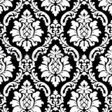 Vinylové tapety na stenu barokový vzor biely na čiernom podklade