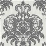 Vliesové tapety na stenu Spotlight - zámocký vzor sivo-strieborný