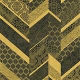 Vliesové tapety na stenu Spotlight 2 drobné kašmírové vzory tvorené do pruhov zlato-čierne