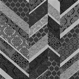 Vliesové tapety na stenu Spotlight drobné kašmírové vzory tvorené do pruhov čierno-strieborné