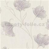 Luxusné vliesové tapety na stenu Spotlight 2 kvety fialové s béžovými kontúrami na krémovom podklade