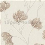 Luxusné vliesové tapety na stenu Spotlight 2 kvety hnedé s béžovými kontúrami na krémovom podklade