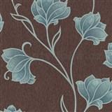 Luxusné vliesové tapety na stenu Spotlight 2 kvety tyrkysové so sivými kontúrami na hnedom podklade