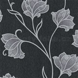 Luxusné vliesové tapety na stenu Spotlight 2 kvety strieborné s kontúrami na čiernom podklade