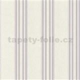 Vliesové tapety na stenu Spotlight 2 pruhy fialovo-krémové so striebornými  prúžkami