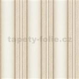 Vliesové tapety na stenu Spotlight pruhy hnedo-krémové so zlatými odleskami
