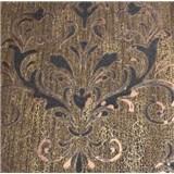 Luxusné vliesové tapety na stenu Spotlight 2 zámocký vzor hnedo-čierny s medenými odleskami s patino