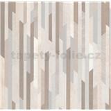 Vliesové tapety na stenu Spotlight 2 pásky hnedé/strieborné/krémové