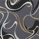 Vliesové tapety na stenu IMPOL Spotlight 3 moderné vlnovky čierno-zlaté na sivom podklade