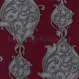 Vliesové tapety na stenu Studio Line - Opulent zámocké ornamenty strieborno - červené s leskom